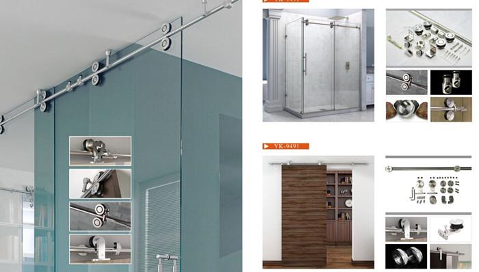 YK-9491浴室移门 不锈钢浴室配件 玻璃淋浴房