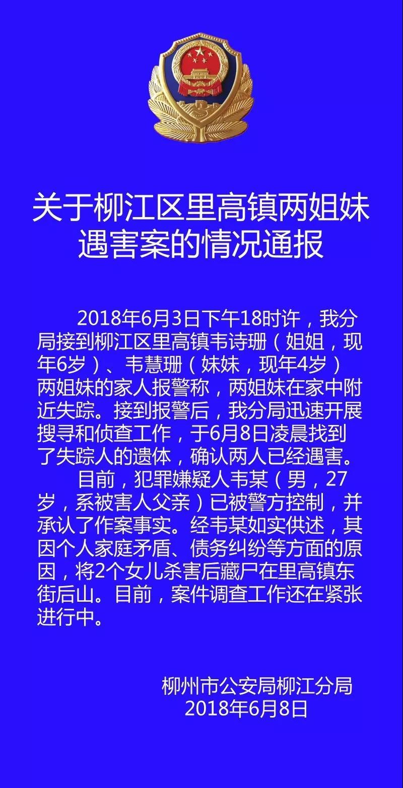 柳州警方通报 男子杀害2名亲生幼女藏尸山上