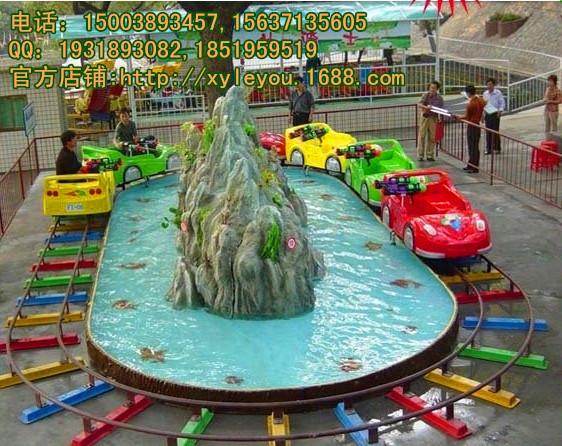 好玩又便宜的水陆战车 轨道小火车喷水项目尽在荥阳乐游游乐