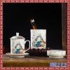 精品手绘陶瓷办公文具用品套装 笔筒烟灰缸带盖茶杯