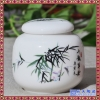 陶瓷粉彩禅意墨竹手绘莲花白瓷茶叶罐青花瓷茶叶罐