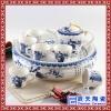 景德镇陶瓷双层功夫茶具套装大号带茶盘 储水圆形隔热干泡盘