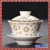 景德镇手绘泡茶碗 青花三炮台功夫茶具复古龙纹敬茶杯