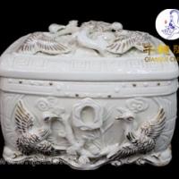 金色陶瓷骨灰盒批发价格及生产厂家钛金骨灰盒