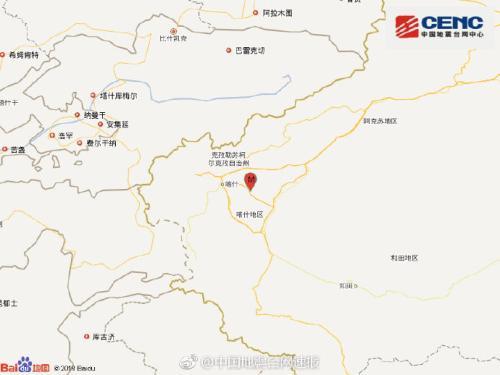 新疆伽师县发生3.0级地震 震源深度10千米