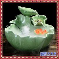 微景观陶瓷假山流水喷泉摆件雾化加湿器客厅招财鱼缸桌面绿植盆景