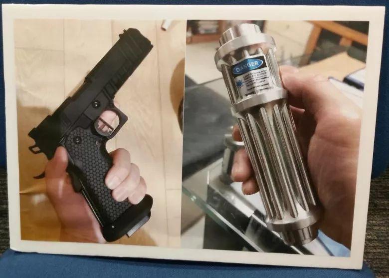 """香港警方公布的仿制枪和""""强力激光炮""""。来源:港媒"""