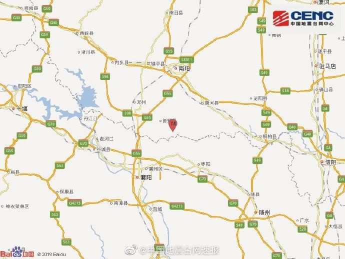 河南新野县(疑爆)发生2.1级地震震源深度0千米