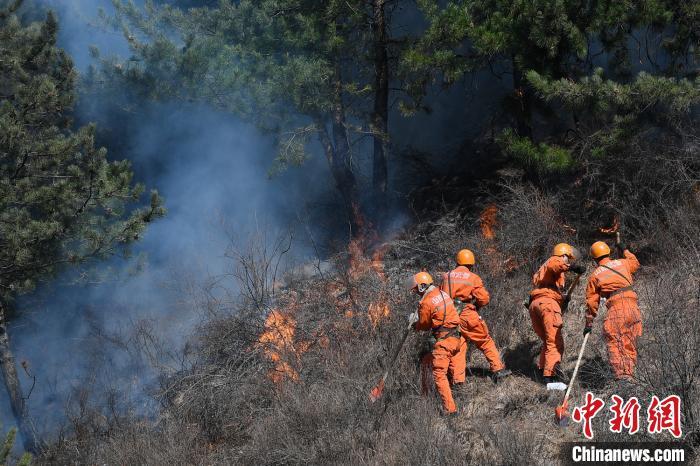 武警山西总队官兵正在扑救山火。 武俊杰 摄