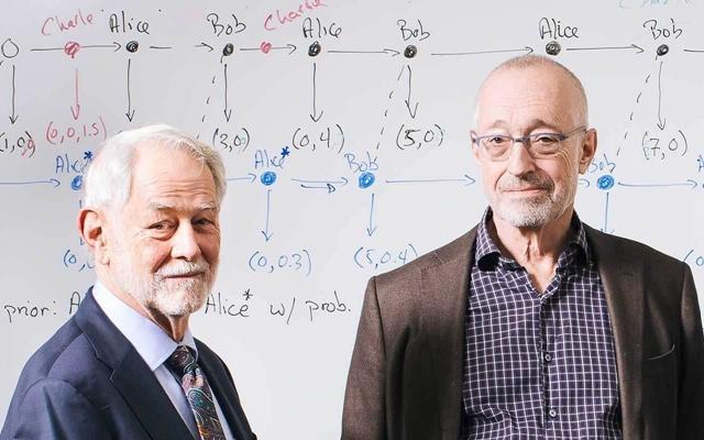 威尔逊(左)和米尔格罗姆师徒。(来源:斯坦福大学)